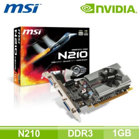 微星 N210-MD1G/D3 (1GB/核心589MHz/記憶體1000MHz)
