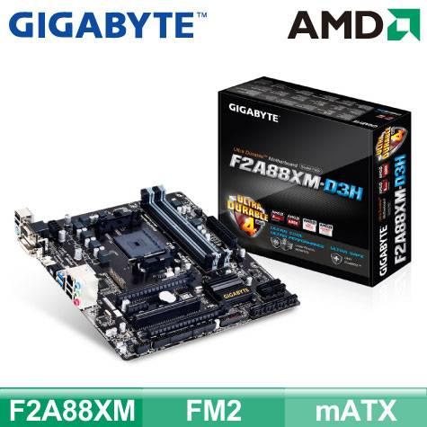 技嘉 F2A88XM-D3H (mATX/4*RAM/2*PCIe x16/U3S6/HDMI+DVI+D-Sub/19pin)