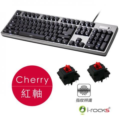艾芮克i-rocks IRK68MSF 指紋辨識 機械式鍵盤-紅軸中文/白色背光/側刻/支援Windows Hello/2xUSB