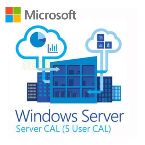 微軟Windows Server CAL 2019 1pk5 Clt User CAL 繁體中文隨機版