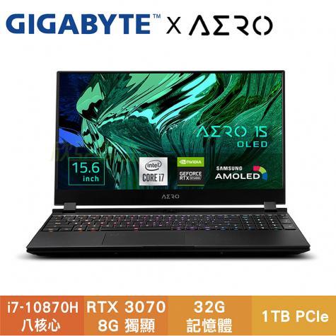 GIGABYTE AERO 15 OLED XC-8TW5450AP 技嘉4K創作者系列筆電/i7-10870H/RTX3070 8G/32GB/1TB PCIe/15.6吋 UHD OLED/W10