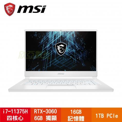 MSI Stealth 15M A11UEK-087TW 純淨白 微星11代極窄邊框超輕薄電競筆電/i7-11375H/RTX3060 6G/16G/1TB PCIe/15.6吋FHD 144Hz/W