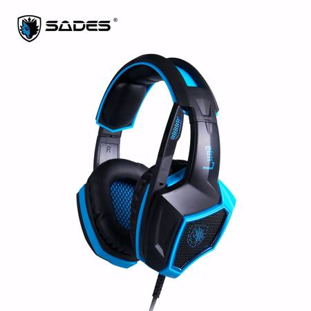 賽德斯SADES LUNA 狼月 耳罩式電競耳機麥克風 7.1聲道(USB)【SA-968】/LED藍光/7.1音效解析晶片/指向性藍光指示麥克風