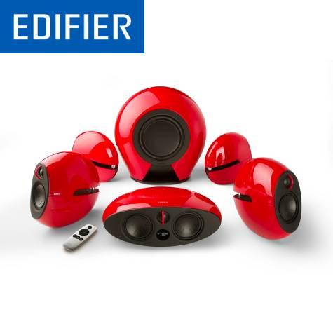 漫步者Edifier e255 無線 5.1聲道 家庭劇院 六件式喇叭-烈焰紅 /3組光纖輸入/無線重低音+後環繞喇叭/鋼琴鏡面表面/附遙控器