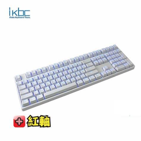 ikbc TD108 機械式鍵盤-白/紅軸中文/藍光背光/Cherry軸/PBT鍵帽