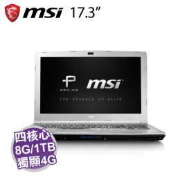 MSI PE72 7RE-1428TW/i7-7700HQ/GTX1050Ti 4G/8G/1T/17.3吋FHD/W10/白色背光鍵盤/含MSI原廠包包及滑鼠