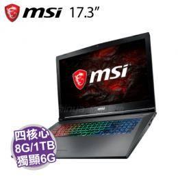 MSI GF72VR 7RF-846TW/i7-7700HQ/GTX 1060 6G/8G/1TB+128G M.2/17.3吋 FHD/W10/含MSI原廠電競後背包及電競滑鼠