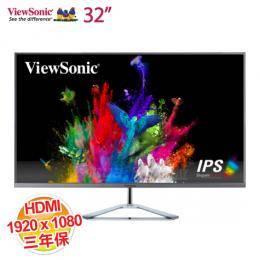 優派ViewSonic 32吋 VX3276-mhd IPS液晶螢幕【1920 × 1080/D-Sub,HDMI,DP/2.5W喇叭/三年保固一年無亮點】