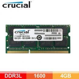 美光 Crucial DDR3L-1600-4GB NB記憶體【獨家技術雙電壓,同時可支援1.5V&1.35V】