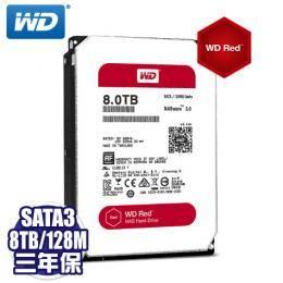 WD【NAS碟紅標】8TB/(WD80EFZX)/NASware3.0/SATA3/128MB/三年保固