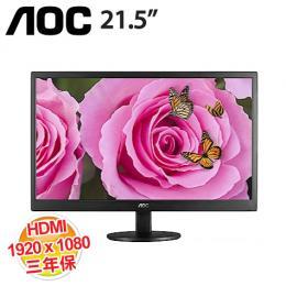 AOC E2270SWHN 21.5 吋螢幕顯示器 【1920x1080、2千萬:1、5ms、D-SUB/HDMI、保固3年】
