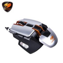 美洲獅Cougar 700M 全鋁變形金剛雷射電競滑鼠-銀橘色/有線/8200DPI/鋁主體骨架/RGB指示燈