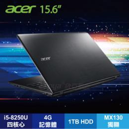 acer E5-576G-54T6 科技黑戰鬥筆電/i5-8250U/MX130 2G/4G/1TB/15.6FHD/DVD/W10/含acer原廠包包及滑鼠