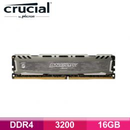 美光 Micron Crucial Ballistix Sport LT競技版 DDR4-3200-16G (灰色散熱片)/CL16
