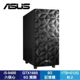 華碩 ASUS H-S340MF-I59400012T桌上型電腦(耀眼黑)/i5-9400/8G/1TB+512G M.2/GTX1660-6G/DVDRW/500W/WiFi/Win10/附鍵盤滑鼠