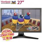 優派 27吋 VP2770-LED /10Bit超IPS/HDMI+DP/2560*1440/USB*4/壁掛/高低旋轉/一年無亮點 (專業繪圖)