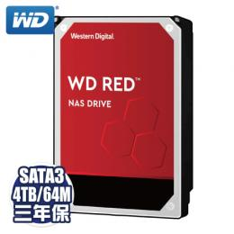 WD【NAS碟紅標】4TB(WD40EFRX) /Intellipower/SATA3/64MB/三年保固