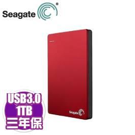 Seagate Backup Plus Slim 1TB紅(STDR1000303)/外接/USB3.0/行動裝置備份/5G雲端【需客訂出貨】