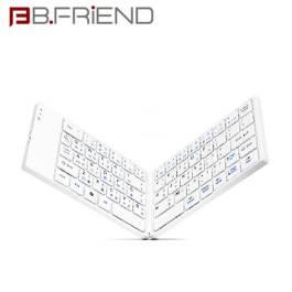 B.FRIEND BT1245-WH 藍牙摺疊鍵盤-白/剪刀腳超薄設計/無線藍牙3.0 技術【福利品出清】
