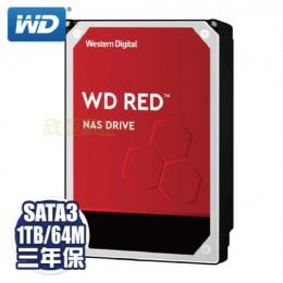 WD【NAS碟紅標】1TB(WD10EFRX) /IntelliPower/SATA3/64MB/三年保固