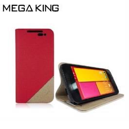 雙色隱型磁扣側掀皮套 HTC ButterflyS 2(B810x) 桃紅+金