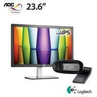 【無敵拼圖】AOC I2476VWM6 23.6吋 【低藍光、不閃屏/IPS/1920x1080/HDMI、D-sub/三年保固】+ 羅技 C170 網路攝影機【福利品出清】