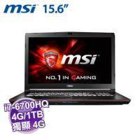 MSI GP62 6QF-824TW【i7-6700HQ/4G D4/1TB 72轉/GTX-960M 4G/FHD/DVD/W10/SS電競鍵盤】
