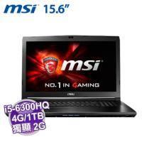 MSI GL62 6QF-848TW【i5-6300HQ/4G D4/1TB 72轉/GTX-960M 2G/FHD/DVD/W10/SS電競鍵盤】【福利品出清】