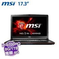 MSI GP72 6QF-484TW【i7-6700HQ/8G D4/1TB 72轉+128G M.2/GTX-960M 4G/FHD/DVD/W10/白色背光SS電競鍵】