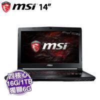 MSI GS43VR 6RE-023TW【i7-6700HQ/16G D4/1TB 72轉+256G PCIE/GTX-1060 6G/FHD/W10】依訂單排序出貨