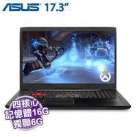 ASUS GL702VM-0051A6700HQ【i7-6700HQ/16G D4/1TB 72轉+256G SSD/GTX-1060 6G/FHD/W10】遊戲專用高解析滑鼠+電競後背包