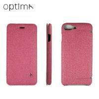 Optima iPhone 7 Plus 側掀站立型皮套 亞麻系列 玫瑰紅