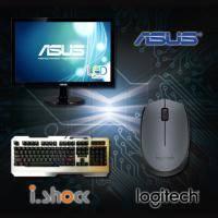 【高興價】ASUS 18.5吋 VS197DE 液晶顯示器 /LED/D-sub + i.shock霹靂神手懸浮式遊戲鍵盤 06-KB168 + 羅技B170/無線滑鼠/左右手通用/隨插即用/2.4 ..