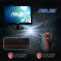 【高興價】ASUS 18.5吋 VS197DE 液晶顯示器 /LED/D-sub + MSI 微星電競鍵盤滑鼠組 MSI DS4100 + MSI DS100
