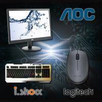 【高興價】AOC 18.5吋 e970SWN 液晶顯示器 /LED背光/D-sub/三年保 + i.shock霹靂神手懸浮式遊戲鍵盤 06-KB168 + 羅技B170/無線滑鼠/左右手通用/隨插即用..