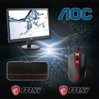 【高興價】AOC 18.5吋 e970SWN 液晶顯示器 /LED背光/D-sub/三年保 + MSI 微星電競鍵盤滑鼠組 MSI DS4100 + MSI DS100