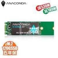 巨蟒 ANACOMDA N1 120GB/M.2 SATA 2280/讀530MB/寫180MB/MLC/五年免費維修到府收送