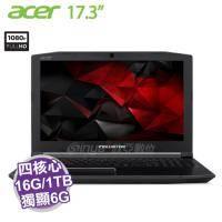 acer PH317-51-75VG/i7-7700HQ/GTX1060 6G/16G/1T+256G PCIE/17.3吋/含acer原廠電競後背包及電競滑鼠/Predator Helios 300 系列