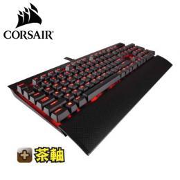 海盜船Corsair K70 LUX 電競機械式鍵盤-茶軸中文 /Cherry軸/紅光背光/可拆手托/USB擴充 (K70LUX(TW)BW/RD燈)