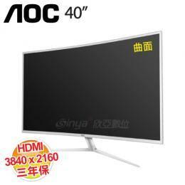 AOC C4008VU8 40吋LED顯示器【3840X2160、曲面 VA/D-Sub、HDMI、DP/三年保固 】