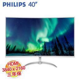 PHILIPS BDM4037UW 40型 4K VA曲面液晶顯示器 (3840X2160、D-sub、HDMI2.0、DP*2、喇叭、三年保固)