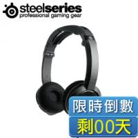 賽睿SteelSeries Flux 可折疊便攜式耳罩式電競耳機麥克風-黑/輕便舒適/可串接式分享