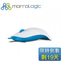 MorroLogic 繽紛蘋果鯊USB精密光學有線滑鼠 WMB-白藍/1000CPI/人體工學造型設計